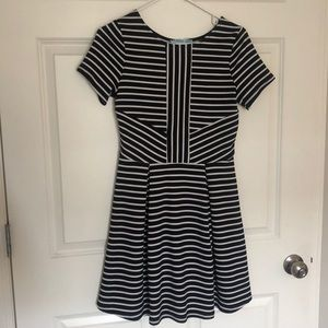 Black and white striped day dress